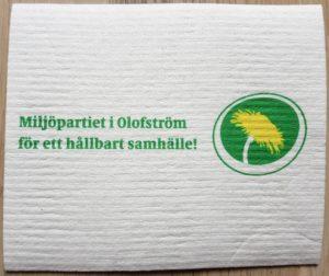 En vit disktrasa med tryck från Miljöpartiet Olofström